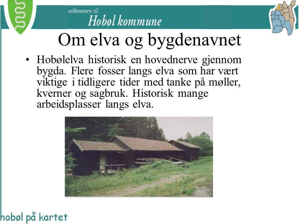 Om elva og bygdenavnet Hobølelva historisk en hovednerve gjennom bygda. Flere fosser langs elva som har vært viktige i tidligere tider med tanke på mø