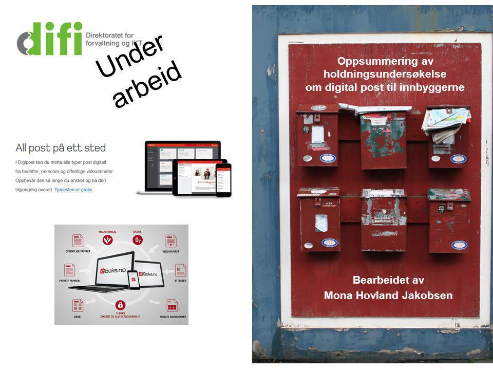 Oppsummering av holdningsundersøkelse om digital post til innbyggerne Bearbeidet av Mona Hovland Jakobsen Under arbeid