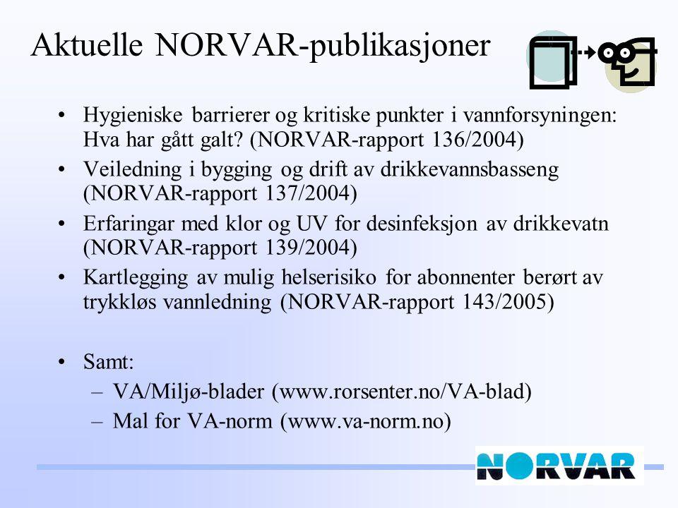 Aktuelle NORVAR-publikasjoner Hygieniske barrierer og kritiske punkter i vannforsyningen: Hva har gått galt? (NORVAR-rapport 136/2004) Veiledning i by