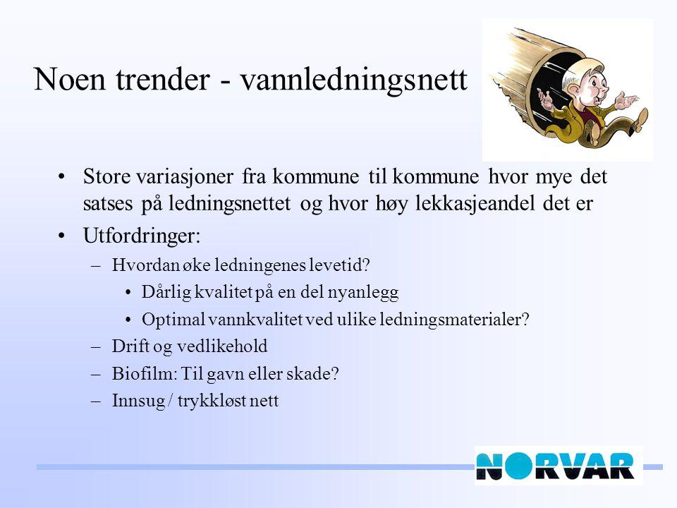 Noen trender - vannledningsnett Store variasjoner fra kommune til kommune hvor mye det satses på ledningsnettet og hvor høy lekkasjeandel det er Utfordringer: –Hvordan øke ledningenes levetid.