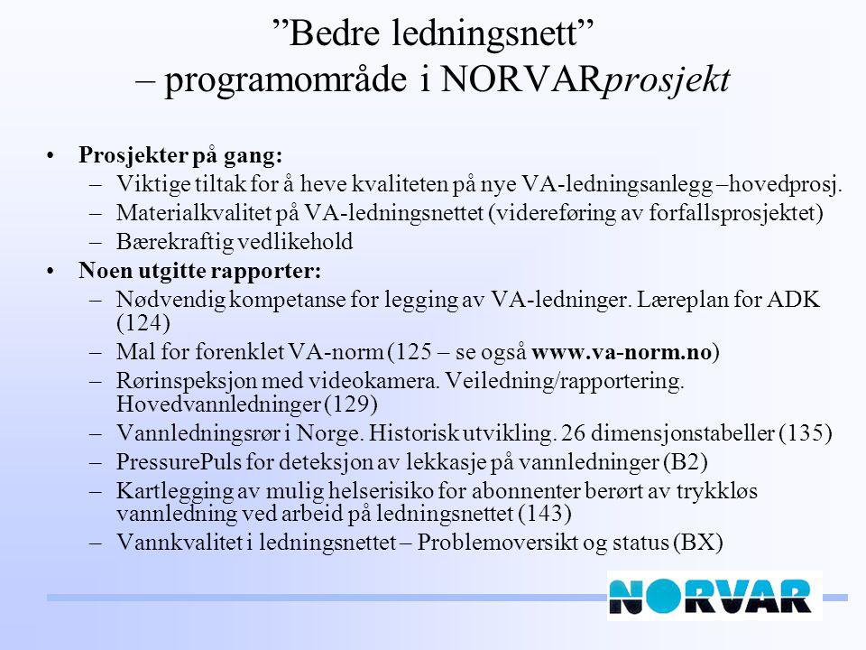 Bedre ledningsnett – programområde i NORVARprosjekt Prosjekter på gang: –Viktige tiltak for å heve kvaliteten på nye VA-ledningsanlegg –hovedprosj.