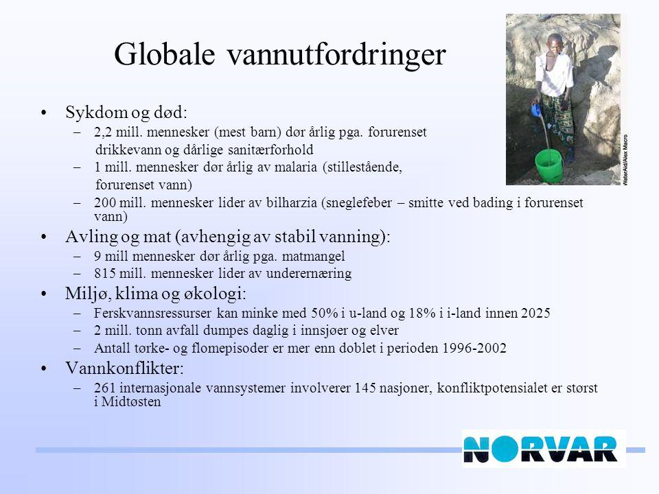 Globale vannutfordringer Sykdom og død: –2,2 mill.