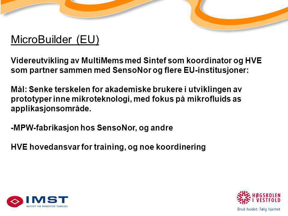 MicroBuilder (EU) Videreutvikling av MultiMems med Sintef som koordinator og HVE som partner sammen med SensoNor og flere EU-institusjoner: Mål: Senke terskelen for akademiske brukere i utviklingen av prototyper inne mikroteknologi, med fokus på mikrofluids as applikasjonsområde.