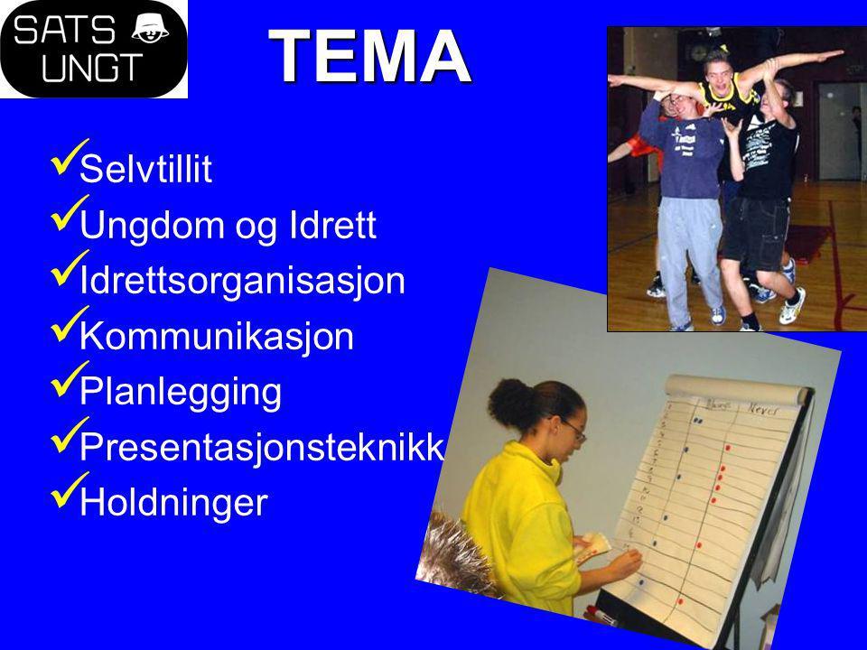 TEMA Selvtillit Ungdom og Idrett Idrettsorganisasjon Kommunikasjon Planlegging Presentasjonsteknikk Holdninger