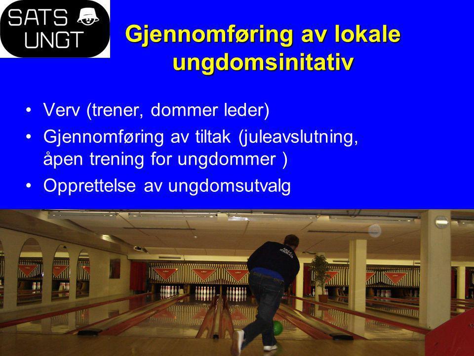 Gjennomføring av lokale ungdomsinitativ Verv (trener, dommer leder) Gjennomføring av tiltak (juleavslutning, åpen trening for ungdommer ) Opprettelse