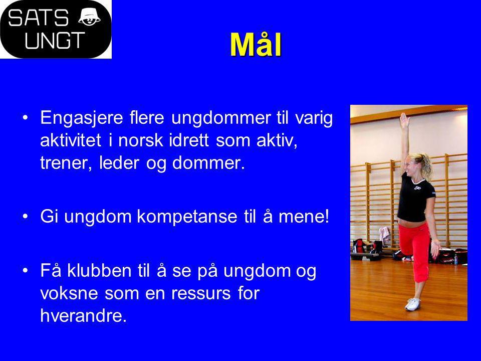Mål Engasjere flere ungdommer til varig aktivitet i norsk idrett som aktiv, trener, leder og dommer. Gi ungdom kompetanse til å mene! Få klubben til å
