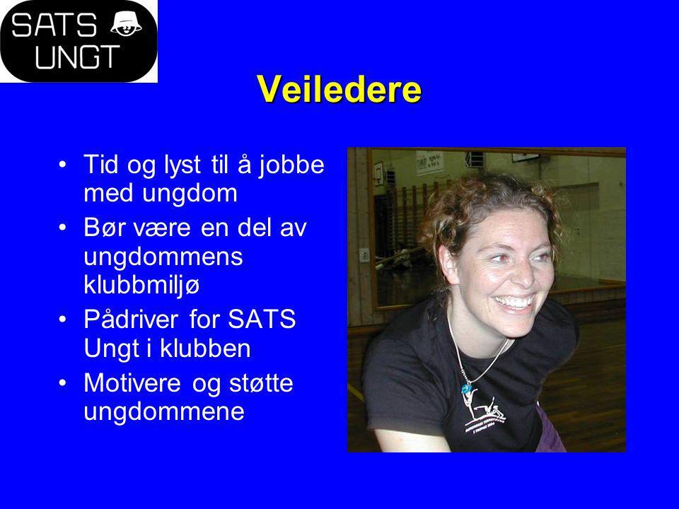 Veiledere Tid og lyst til å jobbe med ungdom Bør være en del av ungdommens klubbmiljø Pådriver for SATS Ungt i klubben Motivere og støtte ungdommene