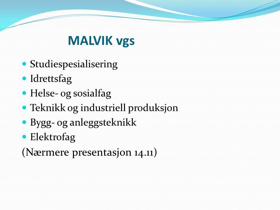 MALVIK vgs Studiespesialisering Idrettsfag Helse- og sosialfag Teknikk og industriell produksjon Bygg- og anleggsteknikk Elektrofag (Nærmere presentasjon 14.11)