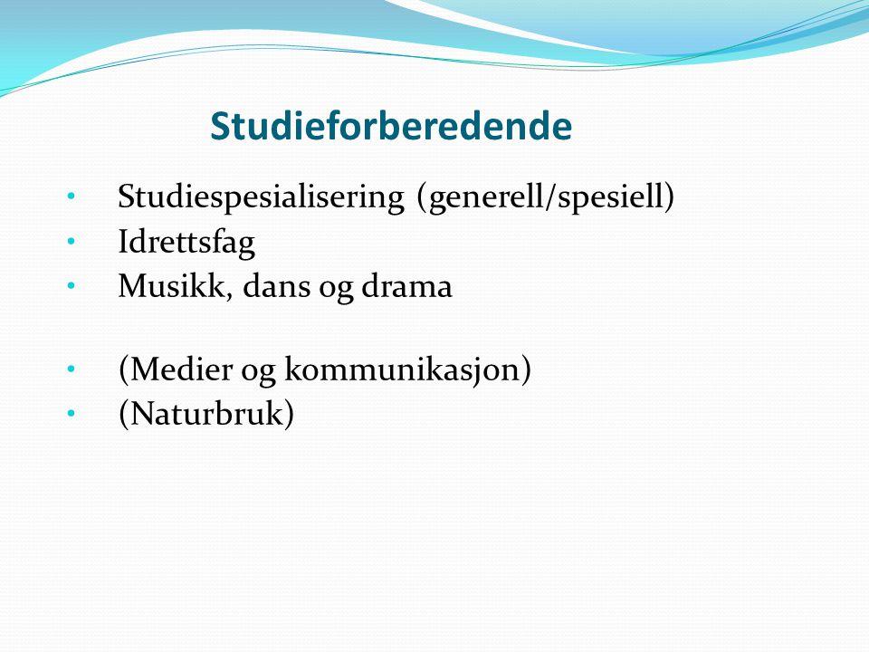 Studieforberedende Studiespesialisering (generell/spesiell) Idrettsfag Musikk, dans og drama (Medier og kommunikasjon) (Naturbruk)