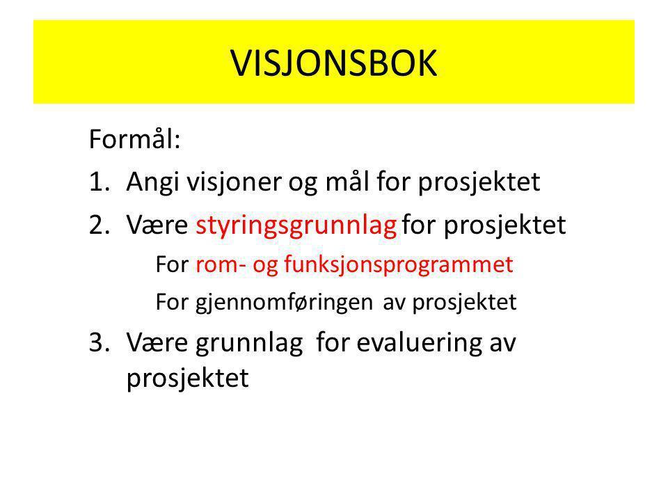 VISJONSBOK Formål: 1.Angi visjoner og mål for prosjektet 2.Være styringsgrunnlag for prosjektet For rom- og funksjonsprogrammet For gjennomføringen av prosjektet 3.Være grunnlag for evaluering av prosjektet
