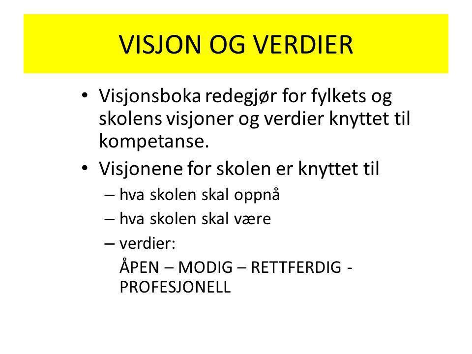 VISJON OG VERDIER Visjonsboka redegjør for fylkets og skolens visjoner og verdier knyttet til kompetanse.