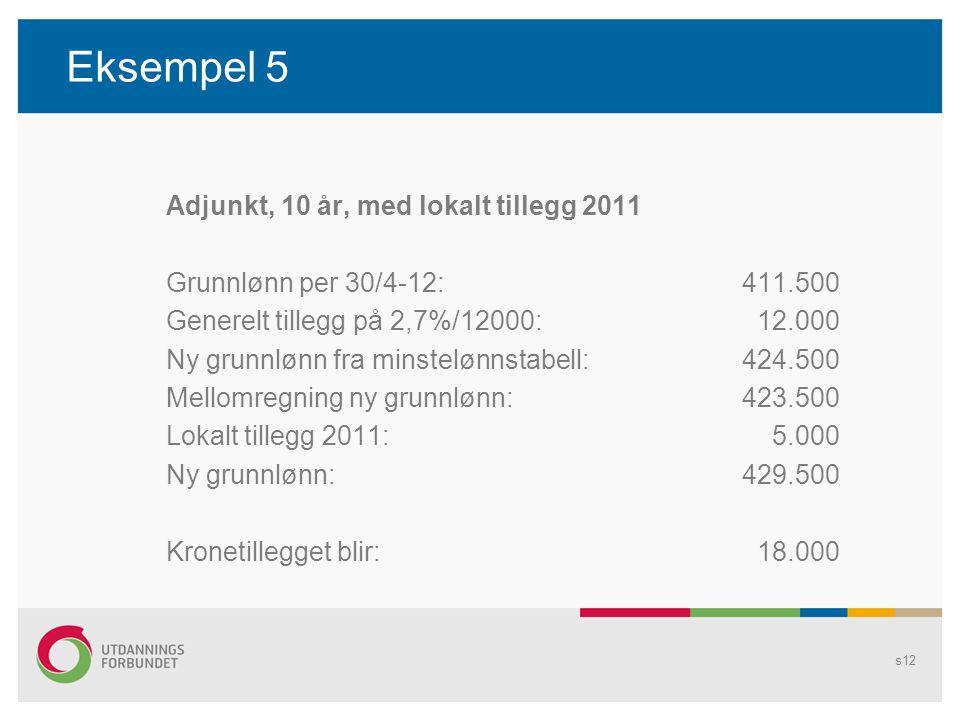 Eksempel 5 Adjunkt, 10 år, med lokalt tillegg 2011 Grunnlønn per 30/4-12:411.500 Generelt tillegg på 2,7%/12000: 12.000 Ny grunnlønn fra minstelønnstabell:424.500 Mellomregning ny grunnlønn:423.500 Lokalt tillegg 2011: 5.000 Ny grunnlønn:429.500 Kronetillegget blir: 18.000 s12