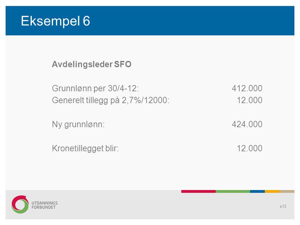 Eksempel 6 Avdelingsleder SFO Grunnlønn per 30/4-12:412.000 Generelt tillegg på 2,7%/12000: 12.000 Ny grunnlønn:424.000 Kronetillegget blir: 12.000 s13