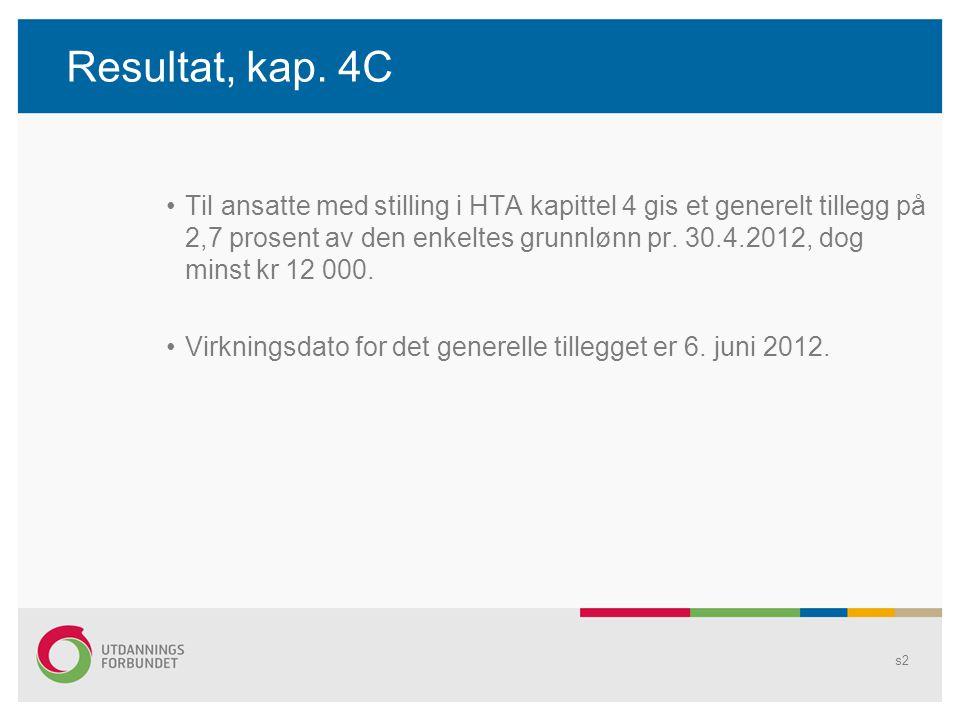 Resultat, kap. 4C Til ansatte med stilling i HTA kapittel 4 gis et generelt tillegg på 2,7 prosent av den enkeltes grunnlønn pr. 30.4.2012, dog minst