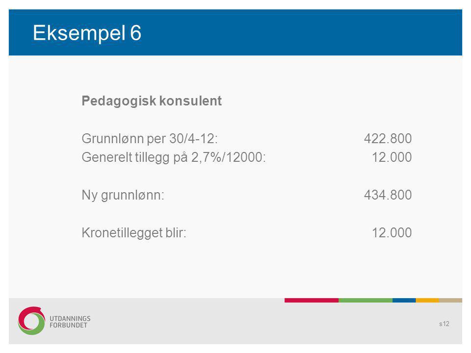 Eksempel 6 Pedagogisk konsulent Grunnlønn per 30/4-12:422.800 Generelt tillegg på 2,7%/12000: 12.000 Ny grunnlønn:434.800 Kronetillegget blir: 12.000 s12