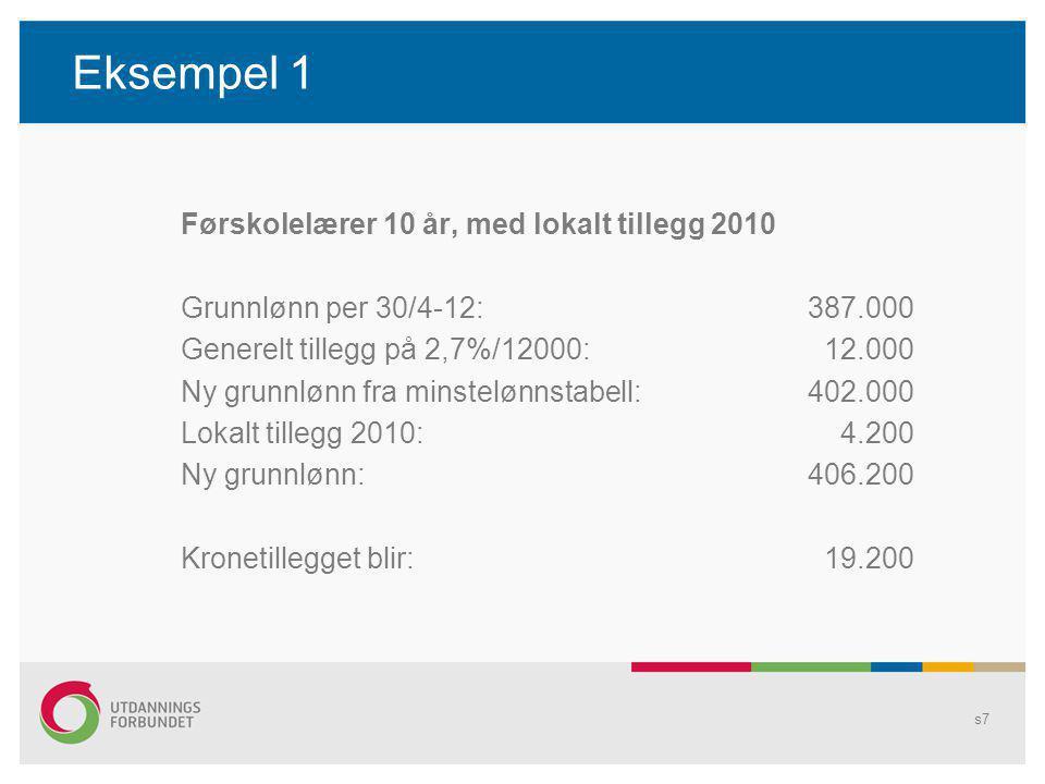 Eksempel 1 Førskolelærer 10 år, med lokalt tillegg 2010 Grunnlønn per 30/4-12:387.000 Generelt tillegg på 2,7%/12000: 12.000 Ny grunnlønn fra minstelønnstabell:402.000 Lokalt tillegg 2010: 4.200 Ny grunnlønn:406.200 Kronetillegget blir: 19.200 s7