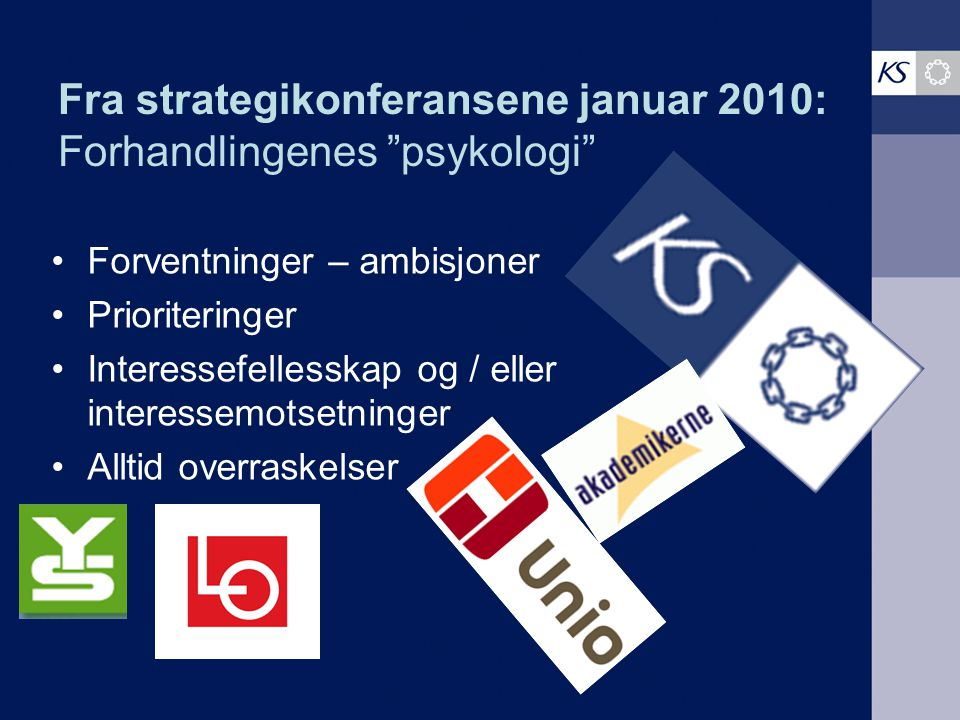 Fra strategikonferansene januar 2010: Forhandlingenes psykologi Forventninger – ambisjoner Prioriteringer Interessefellesskap og / eller interessemotsetninger Alltid overraskelser