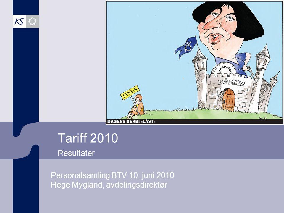 Tariff 2010 Resultater Personalsamling BTV 10. juni 2010 Hege Mygland, avdelingsdirektør