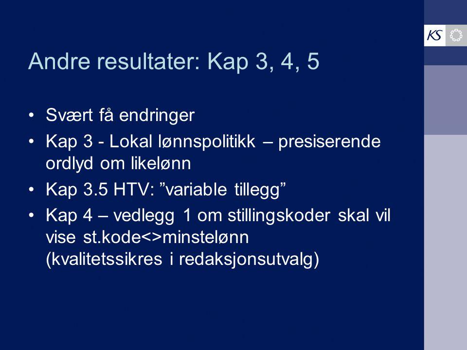 """Andre resultater: Kap 3, 4, 5 Svært få endringer Kap 3 - Lokal lønnspolitikk – presiserende ordlyd om likelønn Kap 3.5 HTV: """"variable tillegg"""" Kap 4 –"""