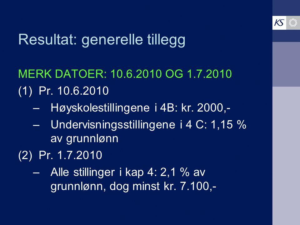 Resultat: generelle tillegg MERK DATOER: 10.6.2010 OG 1.7.2010 (1) Pr. 10.6.2010 –Høyskolestillingene i 4B: kr. 2000,- –Undervisningsstillingene i 4 C