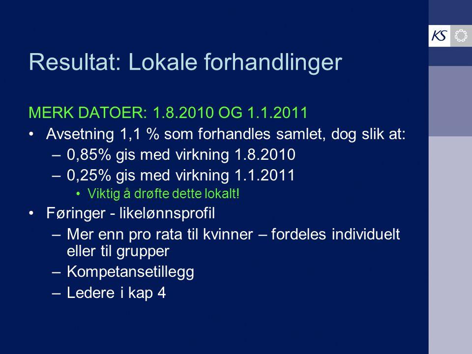 Resultat: Lokale forhandlinger MERK DATOER: 1.8.2010 OG 1.1.2011 Avsetning 1,1 % som forhandles samlet, dog slik at: –0,85% gis med virkning 1.8.2010