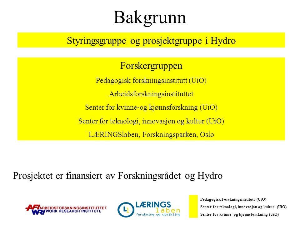 Bakgrunn Prosjektet er finansiert av Forskningsrådet og Hydro Styringsgruppe og prosjektgruppe i Hydro Forskergruppen Pedagogisk forskningsinstitutt (UiO) Arbeidsforskningsinstituttet Senter for kvinne-og kjønnsforskning (UiO) Senter for teknologi, innovasjon og kultur (UiO) LÆRINGSlaben, Forskningsparken, Oslo Pedagogisk Forskningsinstitutt (UiO) Senter for teknologi, innovasjon og kultur (UiO) Senter for kvinne- og kjønnsforskning (UiO)