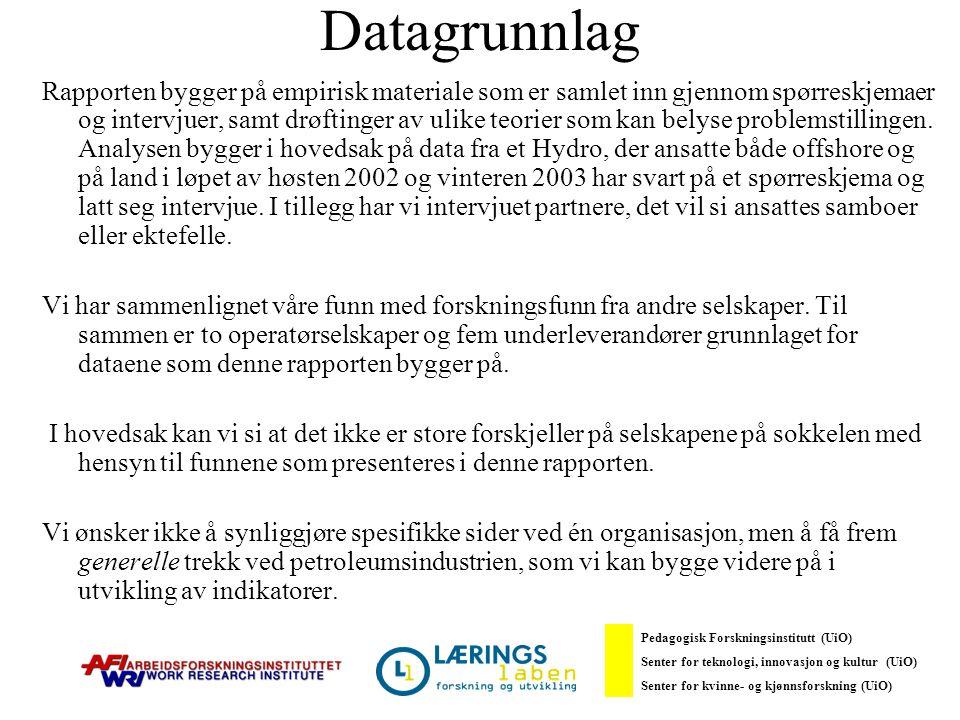 Mot en utvidet HMS-forståelse – utfordringer og dilemmaer Tendens over tid og på mange arenaer Mange tradisjonelle fysisk–kjemiske problemer består, men de organisatoriske og psykososiale utfordringene utgjør i dag følge OD og Hydro den største utfordringen Pedagogisk Forskningsinstitutt (UiO) Senter for teknologi, innovasjon og kultur (UiO) Senter for kvinne- og kjønnsforskning (UiO)