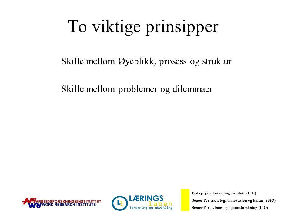 To viktige prinsipper Skille mellom Øyeblikk, prosess og struktur Skille mellom problemer og dilemmaer Pedagogisk Forskningsinstitutt (UiO) Senter for