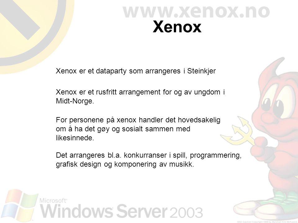Xenox er et dataparty som arrangeres i Steinkjer Xenox er et rusfritt arrangement for og av ungdom i Midt-Norge. For personene på xenox handler det ho
