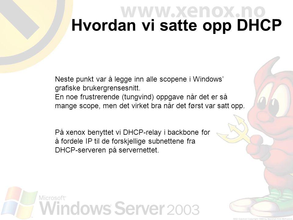 Neste punkt var å legge inn alle scopene i Windows' grafiske brukergrensesnitt. En noe frustrerende (tungvind) oppgave når det er så mange scope, men