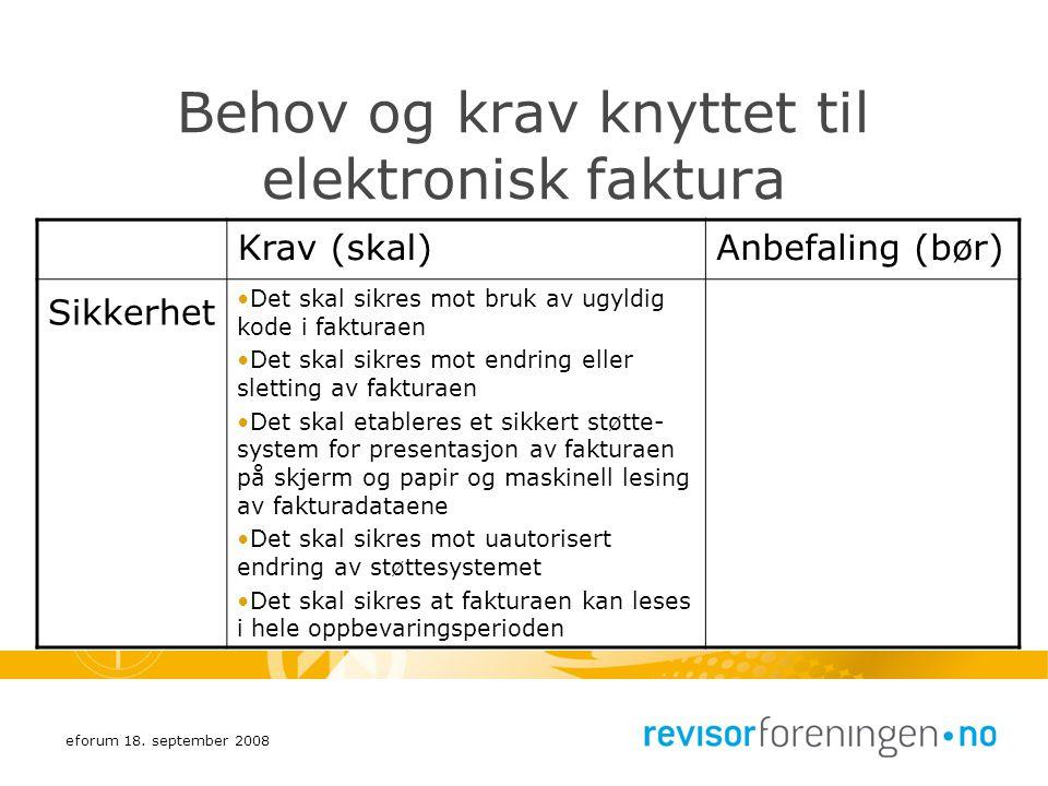 eforum 18. september 2008 Behov og krav knyttet til elektronisk faktura Krav (skal)Anbefaling (bør) Sikkerhet Det skal sikres mot bruk av ugyldig kode