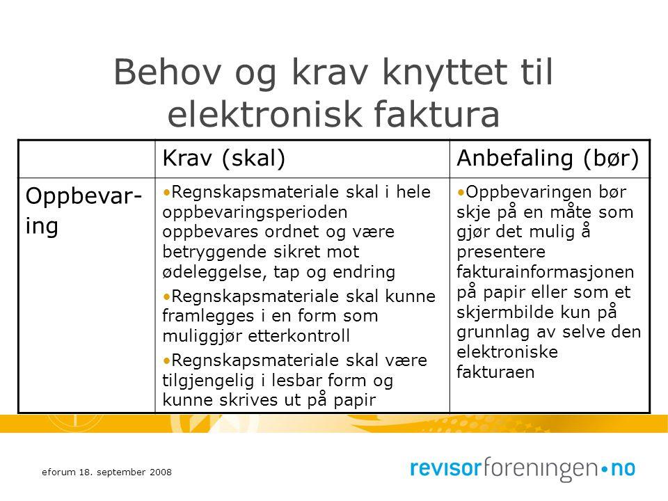 eforum 18. september 2008 Behov og krav knyttet til elektronisk faktura Krav (skal)Anbefaling (bør) Oppbevar- ing Regnskapsmateriale skal i hele oppbe