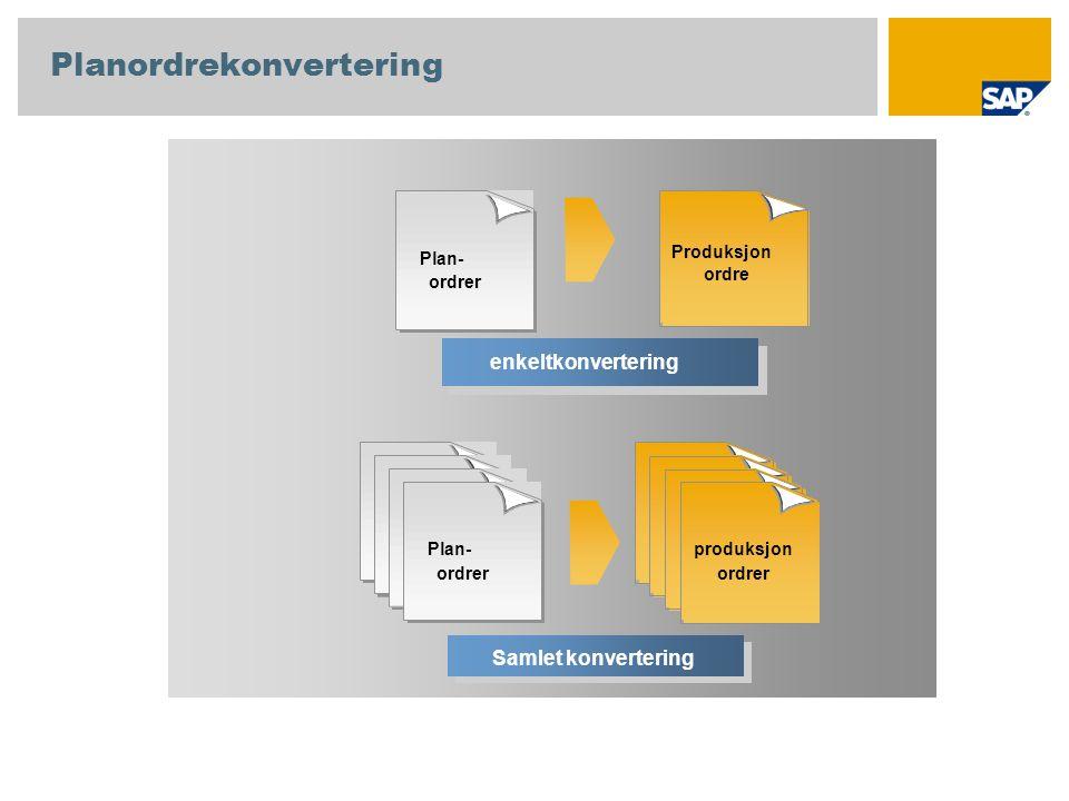 Enkeltkonvertering enkeltkonvertering Plan- ordrer produksjon ordrer Samlet konvertering Planordrekonvertering Produksjon ordre Plan- ordrer