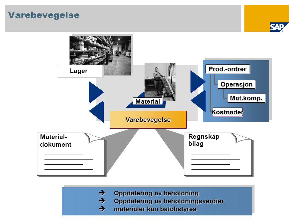 Material Varebevegelse Material- dokument Regnskap bilag Lager Operasjon Mat.komp. Prod.-ordrer Kostnader  Oppdatering av beholdning  Oppdatering av