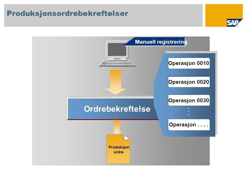 Ordrebekreftelse...... Manuell registrering Produksjonsordrebekreftelser Produksjon ordre Operasjon 0010 Operasjon 0020 Operasjon 0030 Operasjon....