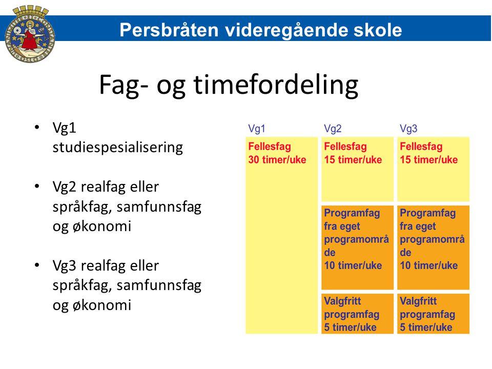 Fag- og timefordeling Vg1 studiespesialisering Vg2 realfag eller språkfag, samfunnsfag og økonomi Vg3 realfag eller språkfag, samfunnsfag og økonomi P