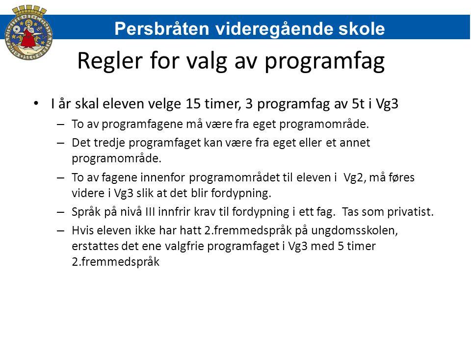 Regler for valg av programfag I år skal eleven velge 15 timer, 3 programfag av 5t i Vg3 – To av programfagene må være fra eget programområde. – Det tr