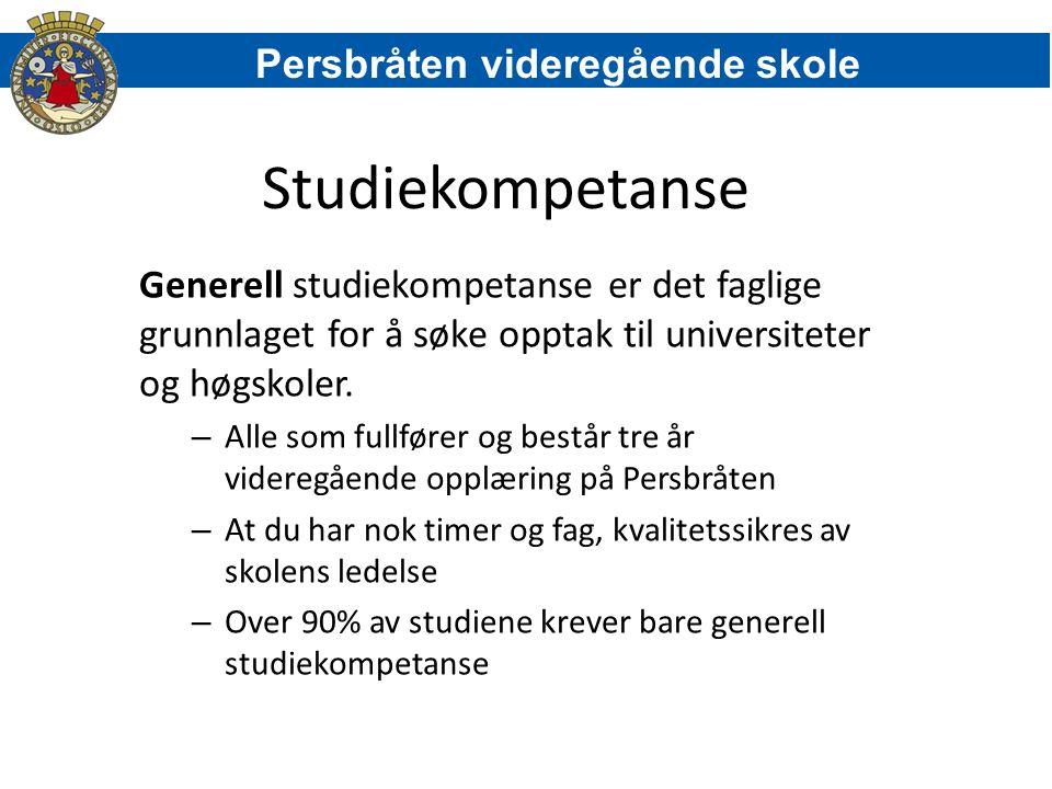 Studiekompetanse Generell studiekompetanse er det faglige grunnlaget for å søke opptak til universiteter og høgskoler. – Alle som fullfører og består