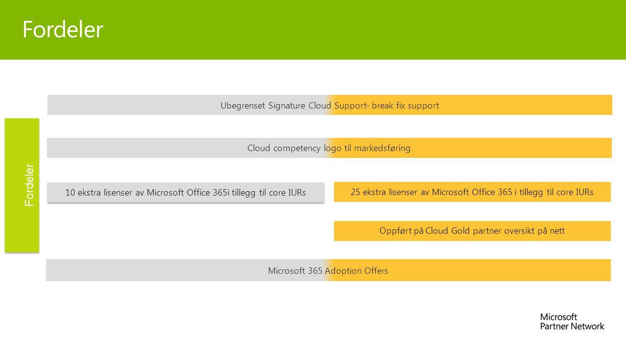 Fordeler 10 ekstra lisenser av Microsoft Office 365i tillegg til core IURs 25 ekstra lisenser av Microsoft Office 365 i tillegg til core IURs Ubegrenset Signature Cloud Support- break fix support Microsoft 365 Adoption Offers Fordeler Cloud competency logo til markedsføring Oppført på Cloud Gold partner oversikt på nett