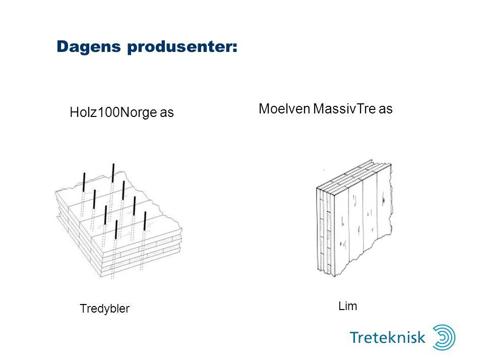 Dagens produsenter: Tredybler Lim Holz100Norge as Moelven MassivTre as