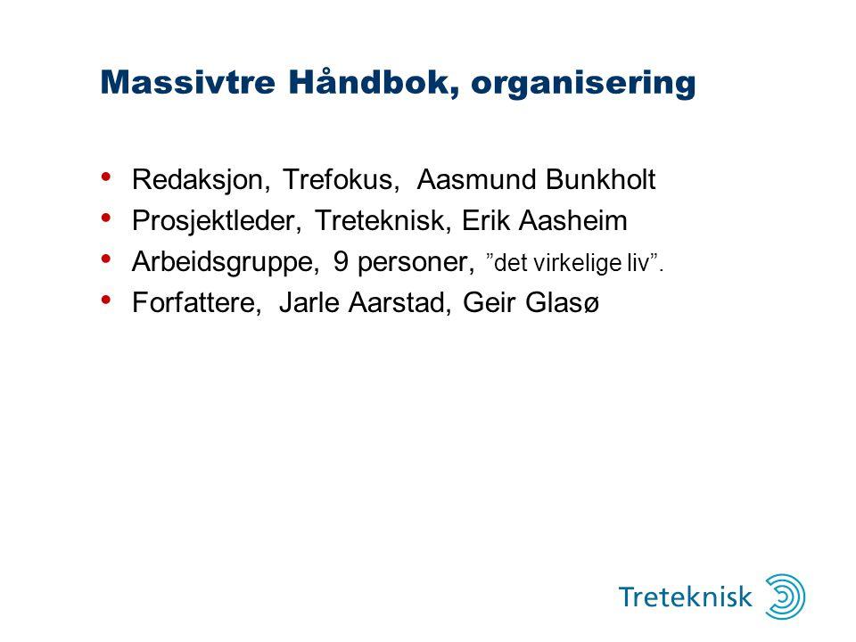 """Massivtre Håndbok, organisering Redaksjon, Trefokus, Aasmund Bunkholt Prosjektleder, Treteknisk, Erik Aasheim Arbeidsgruppe, 9 personer, """"det virkelig"""