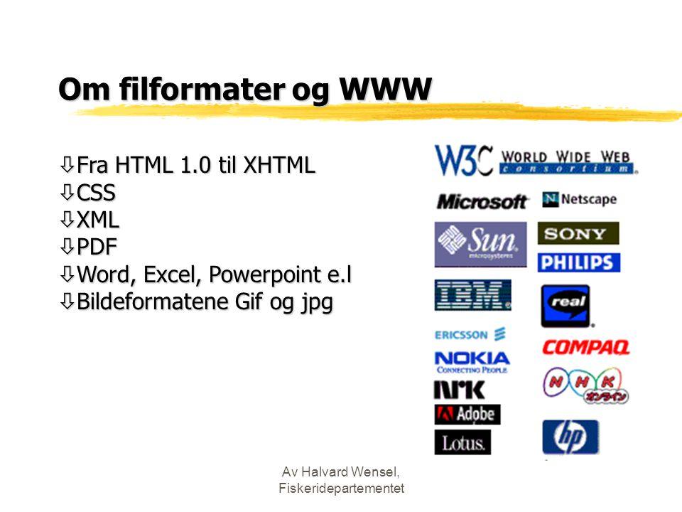 Av Halvard Wensel, Fiskeridepartementet Om filformater og WWW ò Fra HTML 1.0 til XHTML ò CSS ò XML ò PDF ò Word, Excel, Powerpoint e.l ò Bildeformatene Gif og jpg