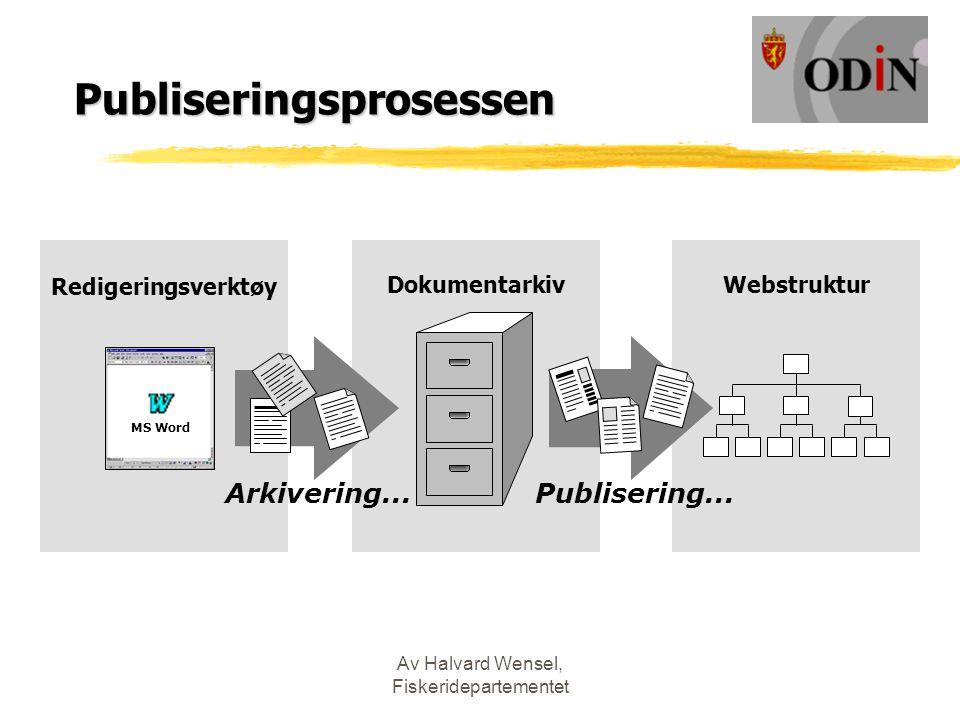Av Halvard Wensel, Fiskeridepartementet Publiseringsprosessen Redigeringsverktøy Dokumentarkiv Webstruktur Arkivering...Publisering...