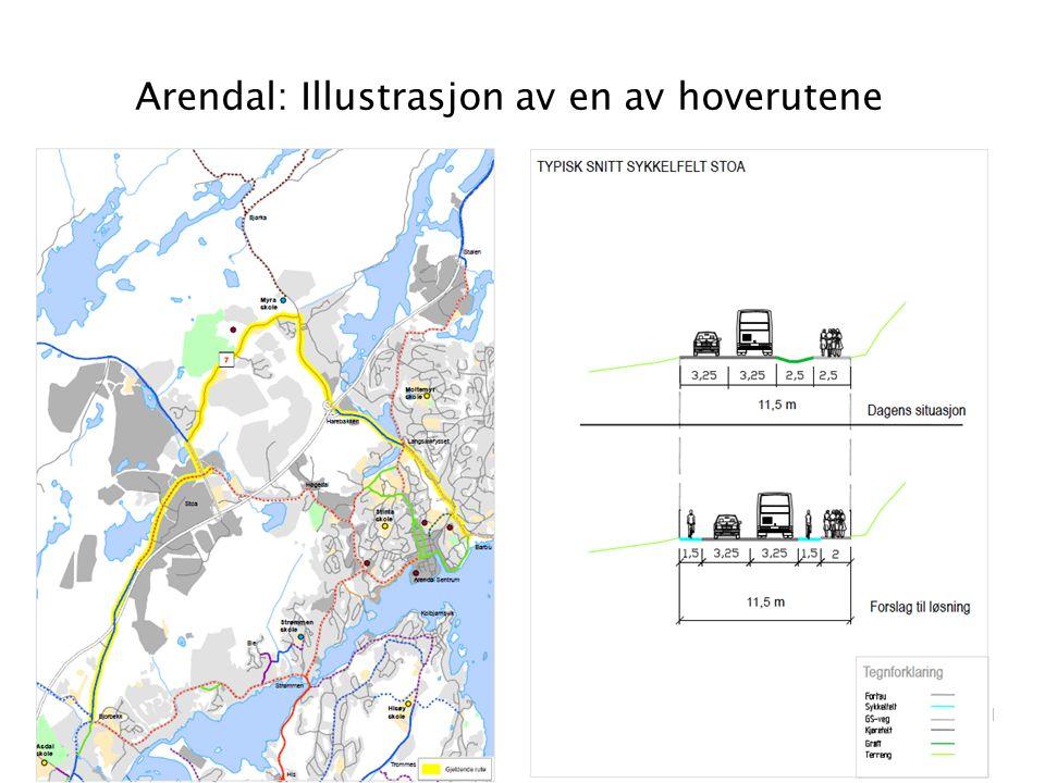 Arendal: Illustrasjon av en av hoverutene 21