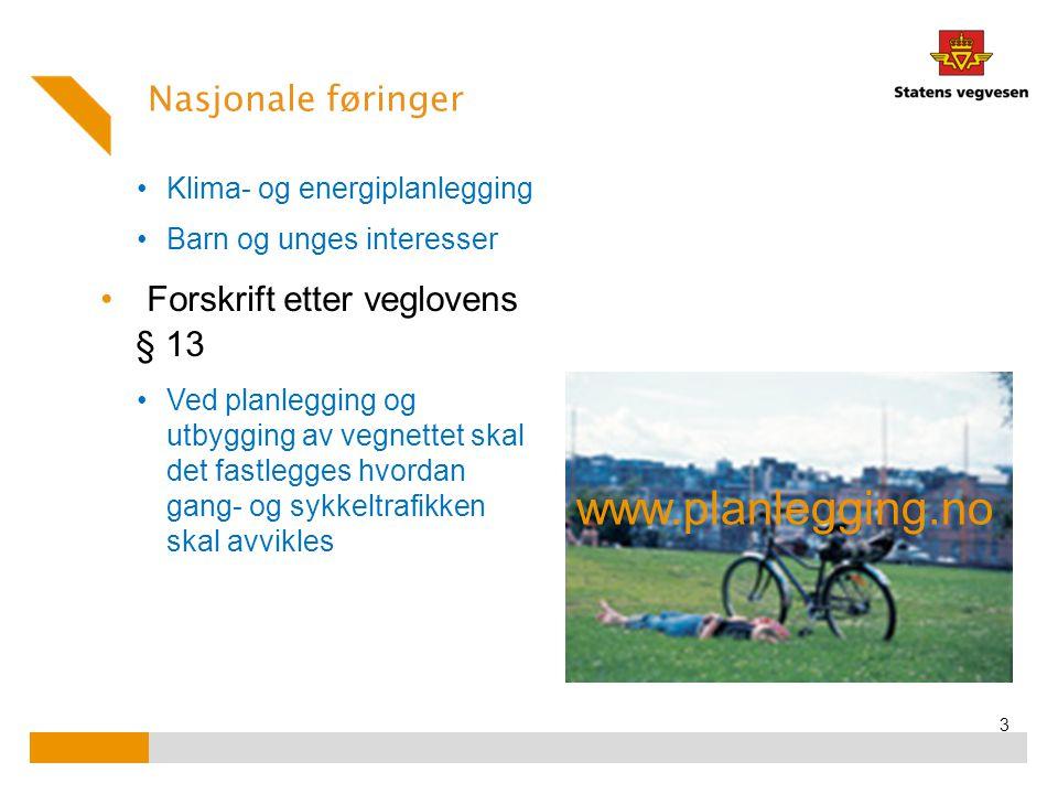 Statens ansvar for sammenhengende hovednett for sykkeltrafikk i byer og tettsteder (Retningslinjer under revisjon) 4 Kommunen, fylkeskommunen og SVV har et felles ansvar for å utarbeide en overordnet plan for sammenhengende hovednett for sykkel.