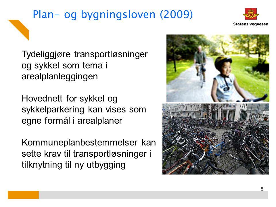 Plan- og bygningsloven (2009) 8 Tydeliggjøre transportløsninger og sykkel som tema i arealplanleggingen Hovednett for sykkel og sykkelparkering kan vises som egne formål i arealplaner Kommuneplanbestemmelser kan sette krav til transportløsninger i tilknytning til ny utbygging