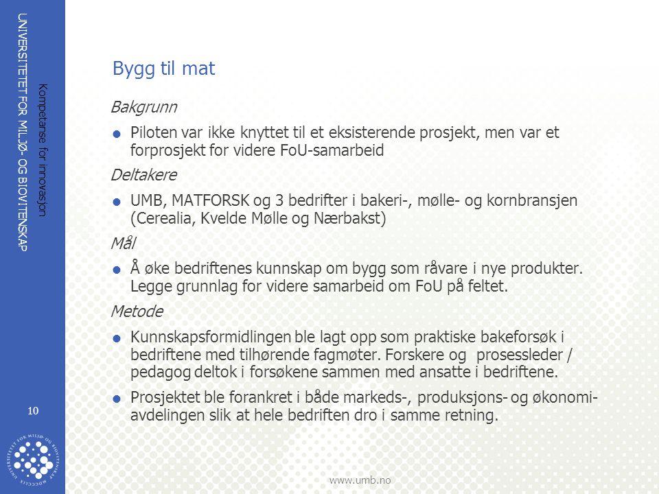 UNIVERSITETET FOR MILJØ- OG BIOVITENSKAP www.umb.no Kompetanse for innovasjon 10 Bygg til mat Bakgrunn  Piloten var ikke knyttet til et eksisterende
