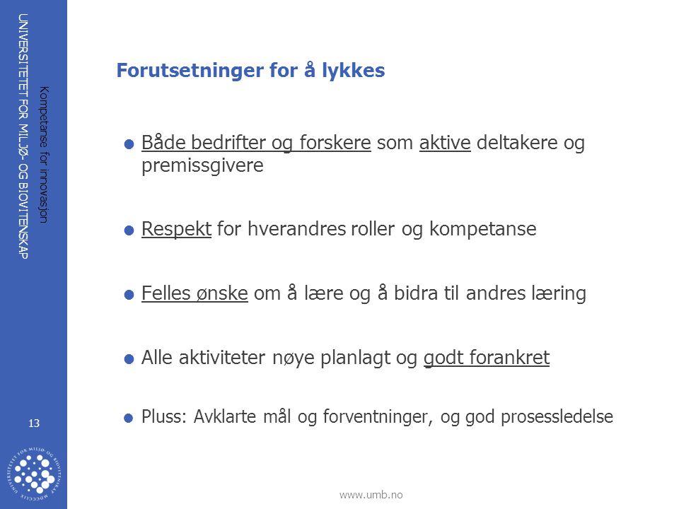 UNIVERSITETET FOR MILJØ- OG BIOVITENSKAP www.umb.no Kompetanse for innovasjon 13 Forutsetninger for å lykkes  Både bedrifter og forskere som aktive d
