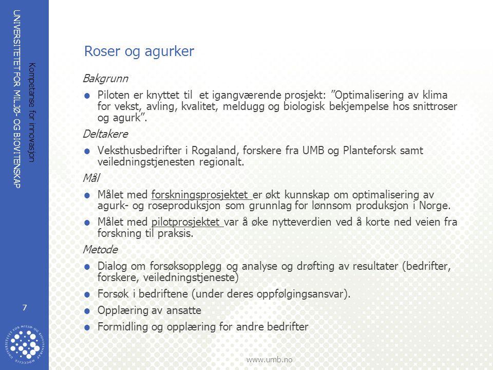 UNIVERSITETET FOR MILJØ- OG BIOVITENSKAP www.umb.no Kompetanse for innovasjon 7 Roser og agurker Bakgrunn  Piloten er knyttet til et igangværende pro