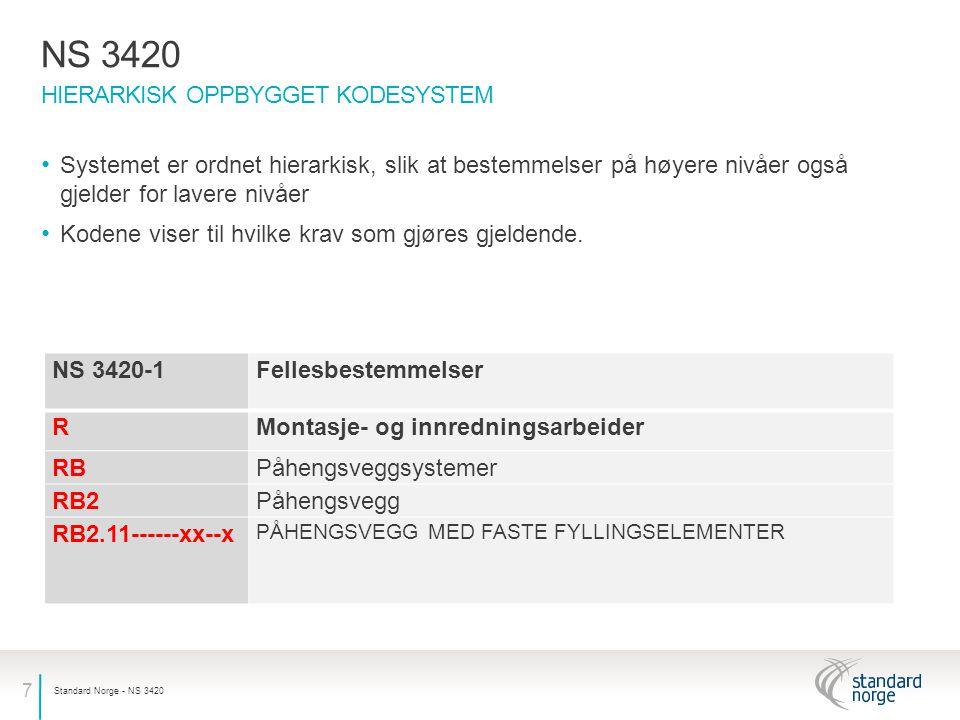 7 HIERARKISK OPPBYGGET KODESYSTEM NS 3420 Standard Norge - NS 3420 Systemet er ordnet hierarkisk, slik at bestemmelser på høyere nivåer også gjelder for lavere nivåer Kodene viser til hvilke krav som gjøres gjeldende.